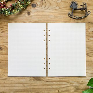 A5 reinforced graph filler paper, 6-ring, fountain pen friendly, 80 sheets/pack.