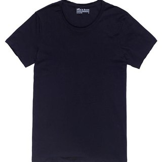 Bread and Boxers Crew Neck Relaxed Scandinavian Tee Tie Cut Tranquil Lines Eugene Tong Use Natural Organic Cotton No Edge Dark Blue T Only XS with S