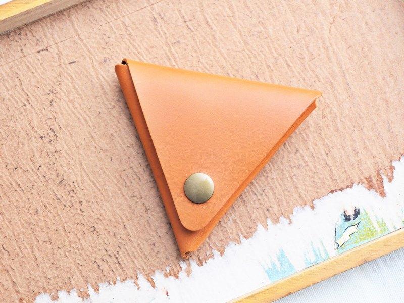 【經典三角形零錢包—橘棕|TAN】好好縫 皮革材料包 免費刻字 手造的聖誕禮物 手工包 零錢包 散紙包 簡約實用 意大利皮 植鞣革 皮革DIY 伴侶 纖薄 真皮 原色啡黑深藍綠橙紅灰等 超過五十皮色選