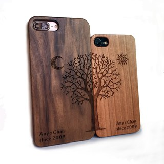 Custom solid wood couple mobile phone shell, solid wood iPhone Samsung mobile phone shell, couple mobile phone shell, big tree