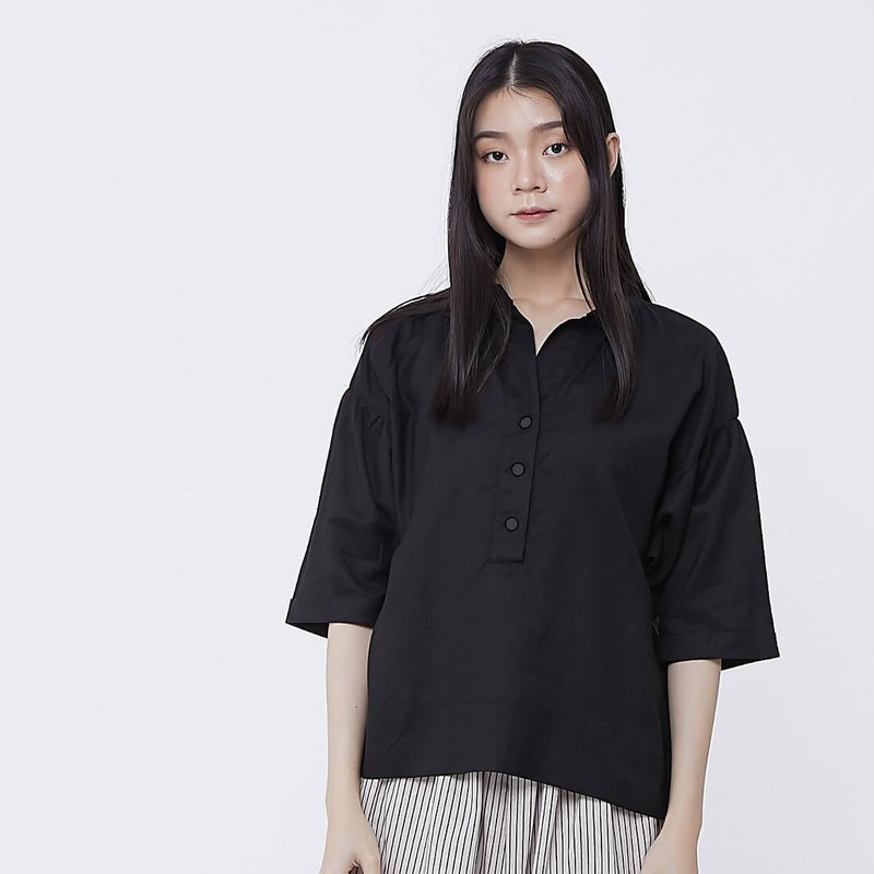 Helen Linen Cotton Wide Shirt Top  /Black