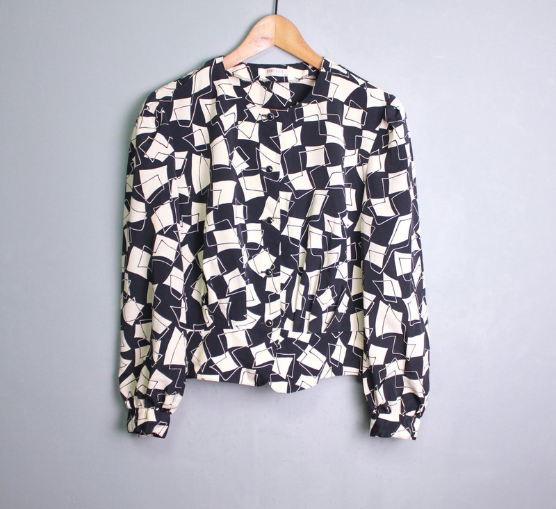 FOAK vintage 60's black and white geometric checkered top