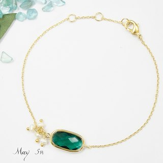 Edith & Jaz • Birthstone with Pearl Collection - Emerald Quartz(May)Bracelet