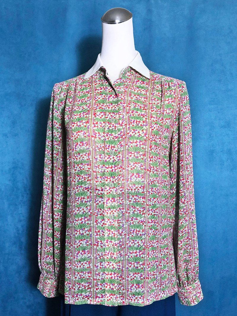 Flower activity collar long sleeve vintage shirt / abroad brought back VINTAGE