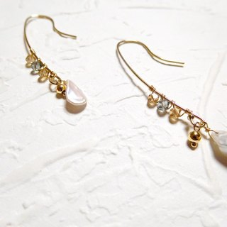 Bag 14K gold crystal pearl earrings irregular adults notes