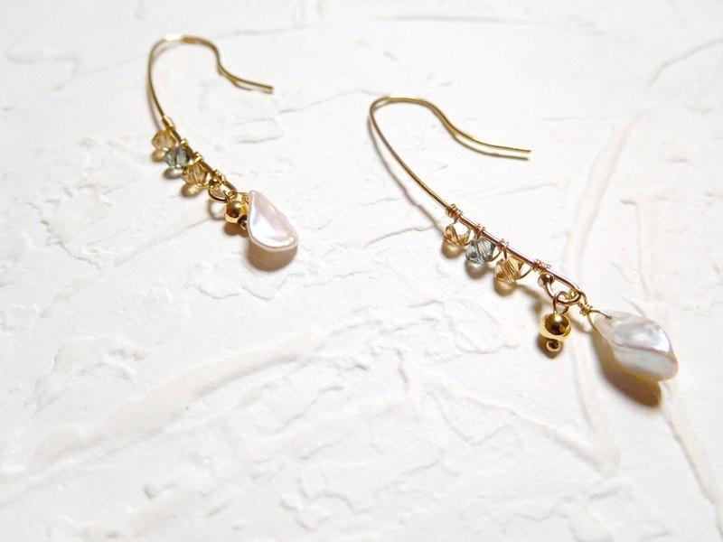 Pack of 14K gold irregular pearl crystal earrings for adults' notes