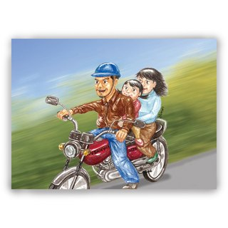 Hand-painted illustration father card / Universal card / card / postcard / illustration card - Warm pick-up moto motorcycle locomotive family three stickers