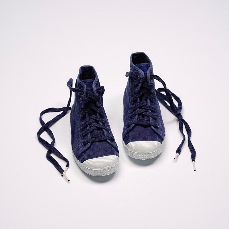 西班牙帆布鞋 CIENTA 61777 84 深藍色 洗舊布料 童鞋 高筒
