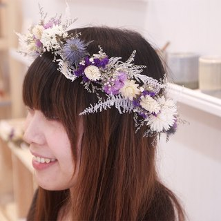 Flowers and flowers - purple and white dry head flower drying wreath wedding props
