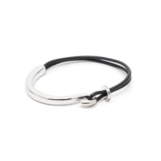 Recovery hook leather rope bracelet (bright silver / black silver)