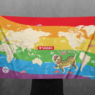 Make World map to make sports bath towels (Rainbow Yellow Tiger)