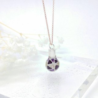 Glass-painted Light Bulb Sterling Silver Necklace 18 inch