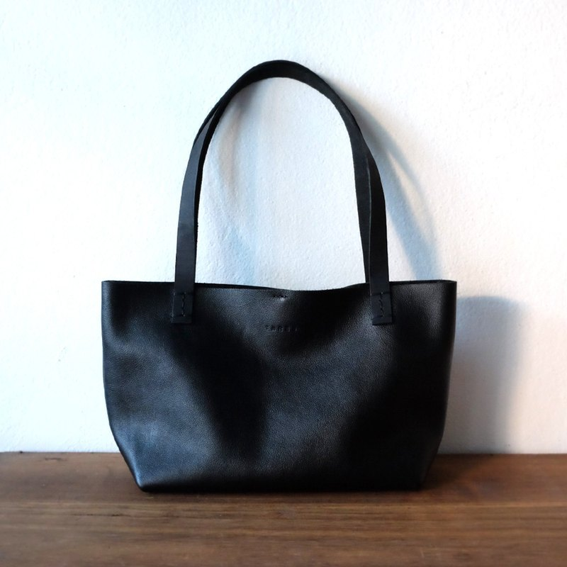 aaa20f9bd92cd Mini Simple Leather Tote Bag I Small Black Leather Handbag I Lunch Bag -  Designer THREE LEATHER