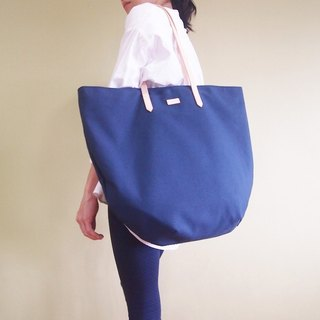 Summer Tote Bag with Leather Strap - Navy Blue / Turquoise Beach Tote Bag