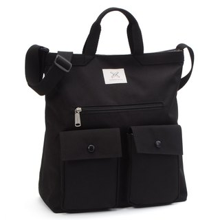 LaPoche Secrete: Boy-friendly Wenqingbao _ Handsome black water-proof dual-use canvas bag _ can carry shoulder A4