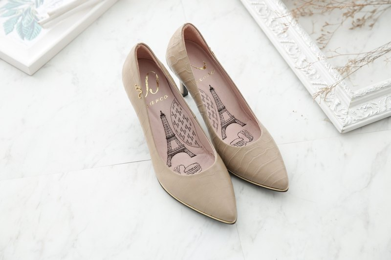 Liz - Nude - crocodile pattern sheepskin pointed high heels