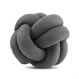 Knot Cushion Wrapped Ball | Deep Woven Grey Pillow Gift