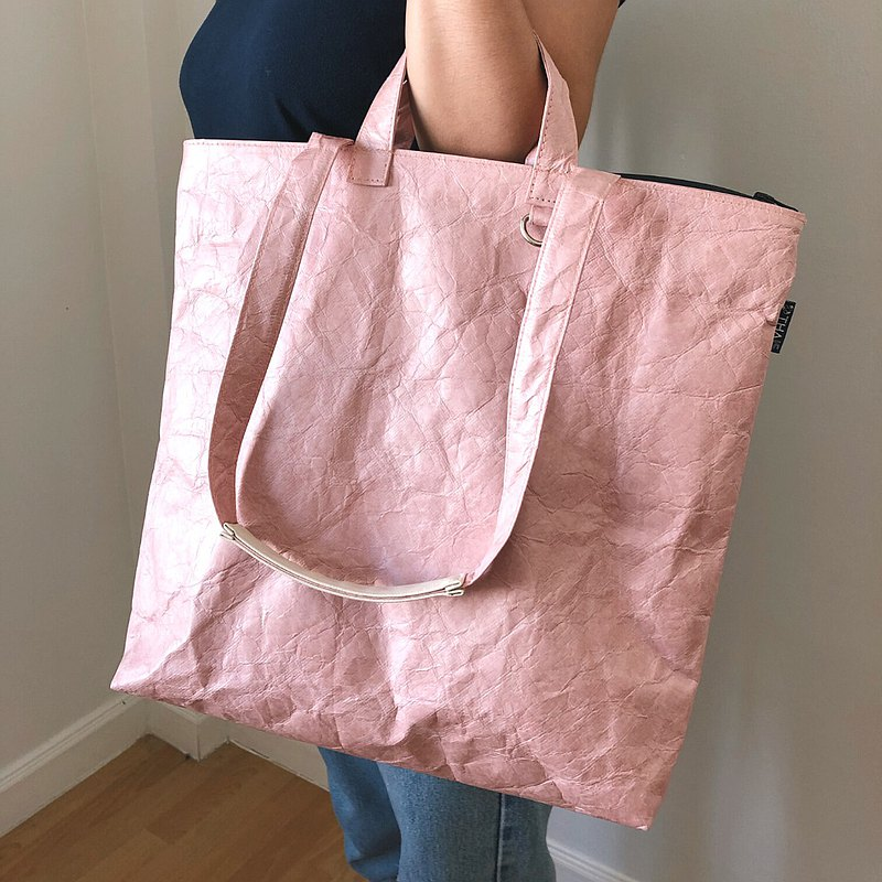 Ultralight waterproof tote bag with 2 straps - DUSTY PINK