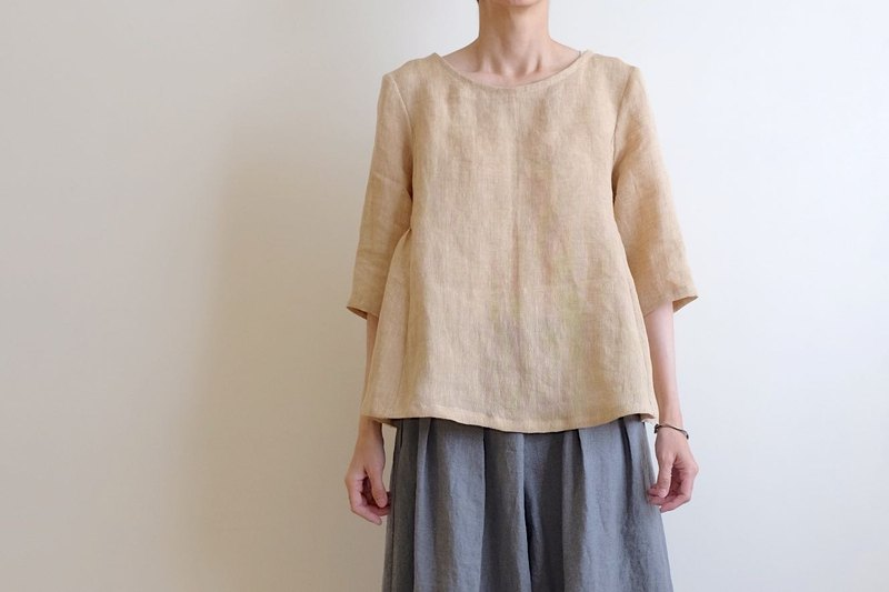 Daily hand-made suit honey color air five-point sleeve umbrella blouse linen
