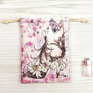 Bunched bag / storage bag l high heels flower cat l thick ultra-soft flannel