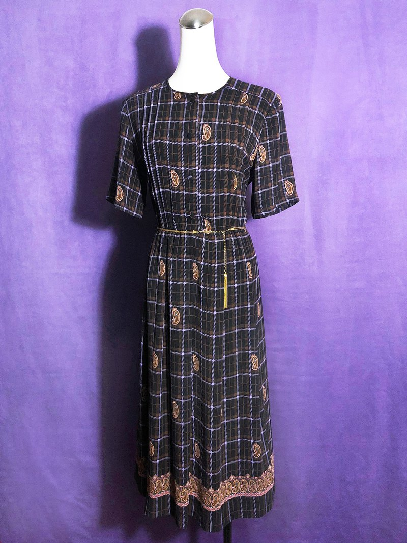 Totem Plaid Short Sleeve Vintage Dress / Foreign Return to VINTAGE