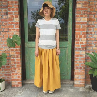Handmade natural cotton and linen material mustard yellow forest series long version of pocket round skirt
