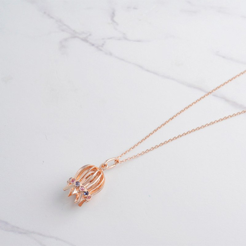 French Bird Cage Necklace in 18K Rose Gold