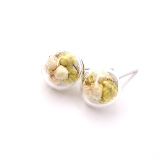 A Handmade TANSEI millet flower glass ball earrings