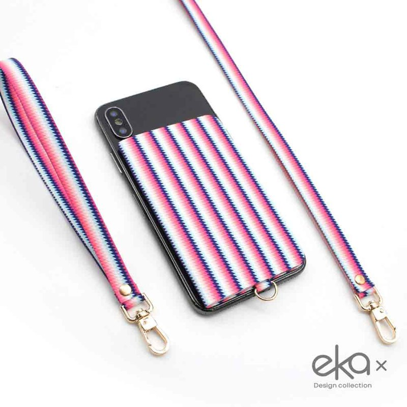 [ekax] mobile phone back stickers card holder / long neck rope / short wrist rope (youth art color)