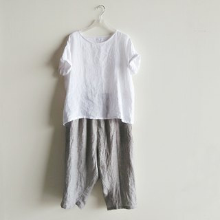 Low-grade seven-point farmer's pants linen gray