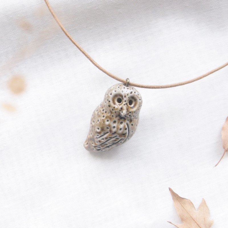 Firewood Owl Essential Oil Necklace B02