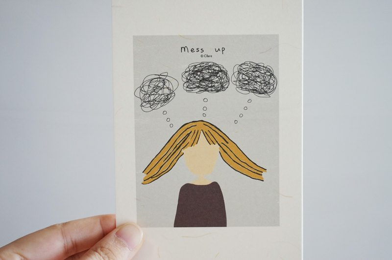 Girl and Mess Up- Postcard/card