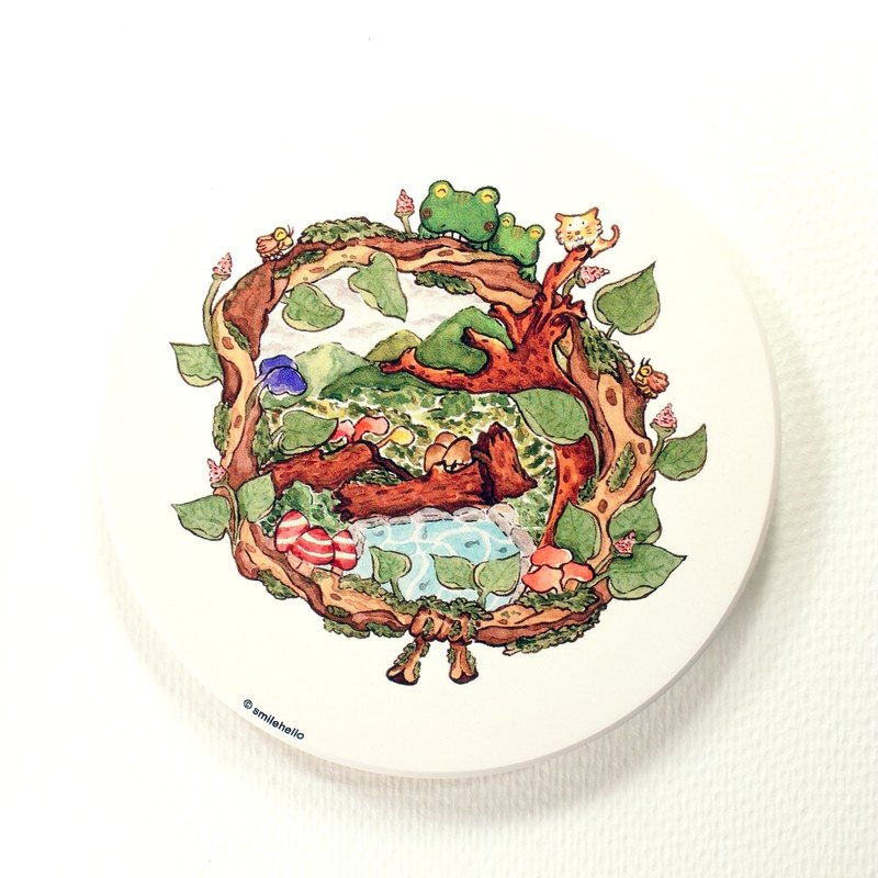 Joy in the forest / smile Hi Feed Smilehello Illustrator log ceramic absorbent coasters