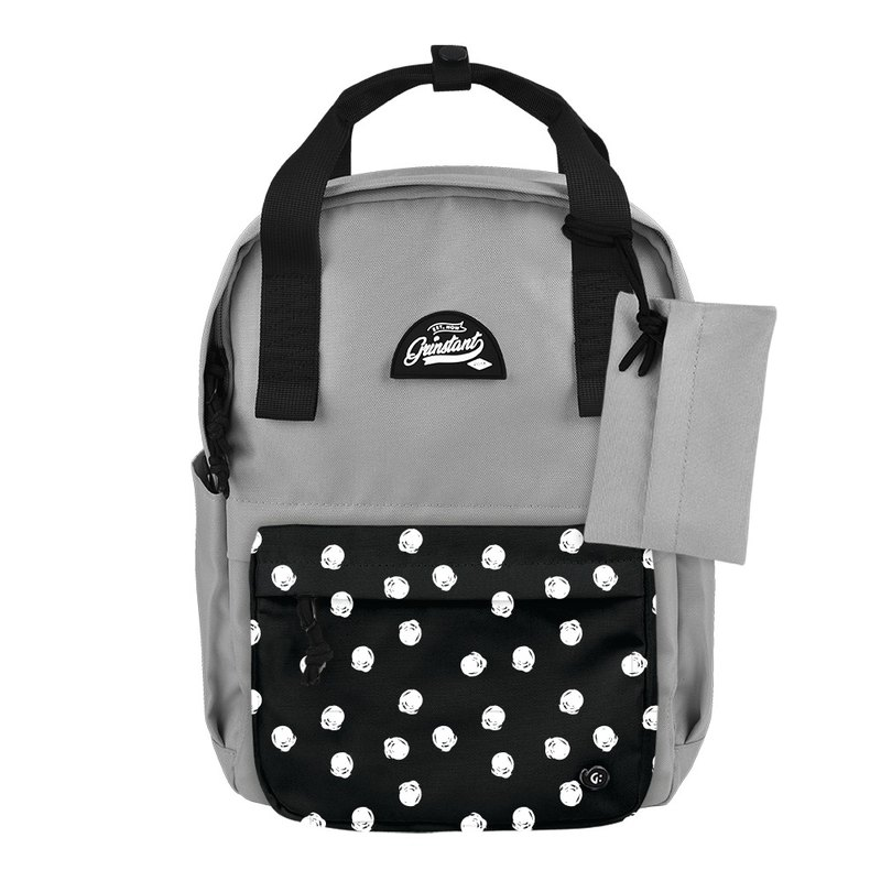 Grinstant mix and match detachable group 13 吋 backpack - black and white series (gray with white dots)