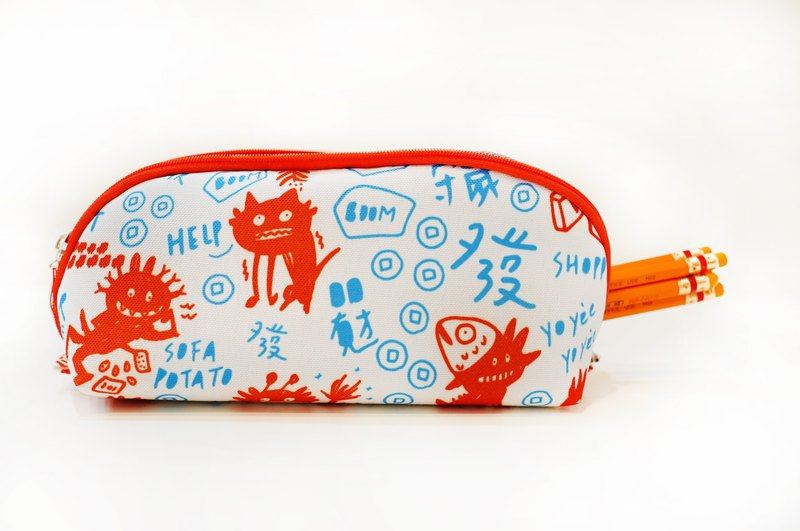 Cosmetic bag pencil bag spring print (red and blue color)