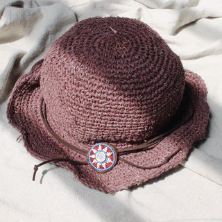 OMAKE REMAKE hemp woven Afghan badge leather rope cap red brown