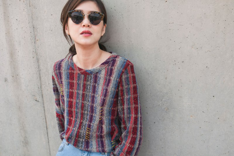 Neesia Colorful Stripes Graphic Knit Top