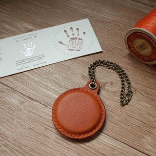 Minerva box wrestling leather leisure card chip pendant - A section - orange coffee