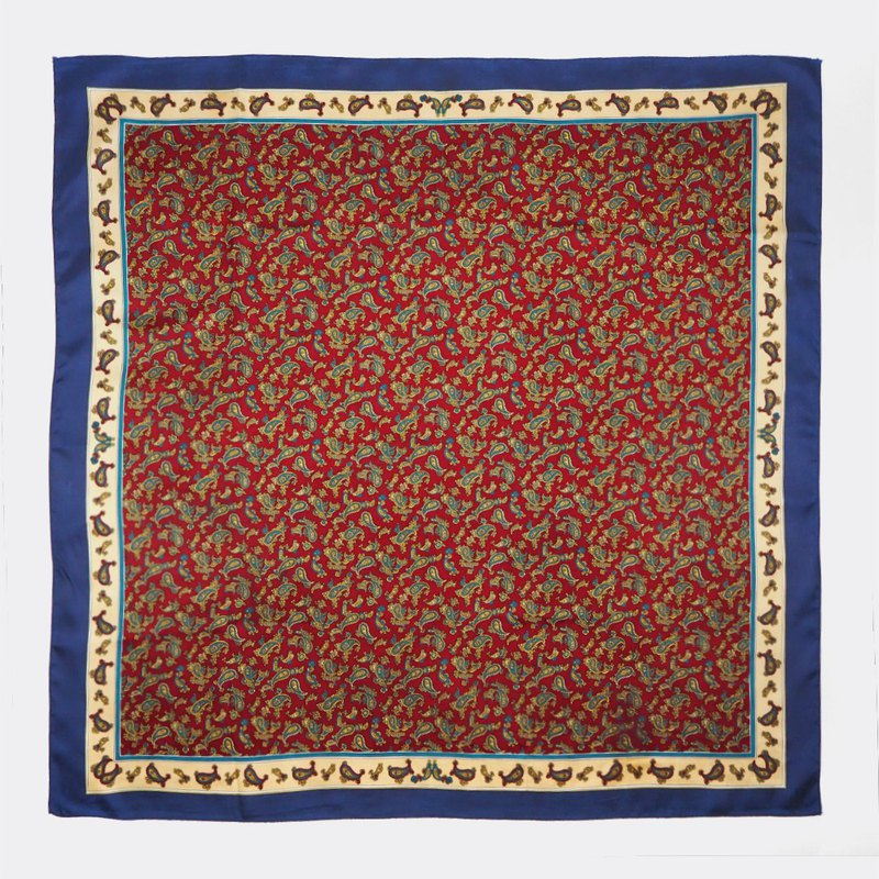 Blue frame vintage red amoeba antique silk scarf BO0038