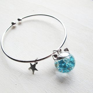 Rosy Garden tiffany blue cat water inside glass ball bangle