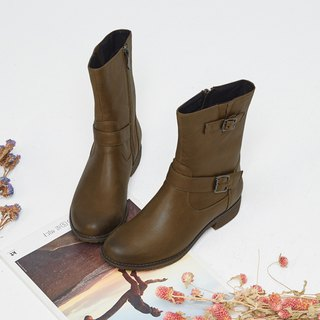 [London pace] retro color cloth project boots _ baking matcha