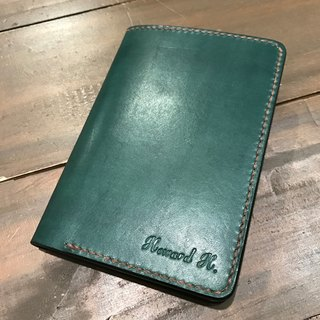 Handmade hand-dyed leather folder, passport folder (free printing, embroidered words)