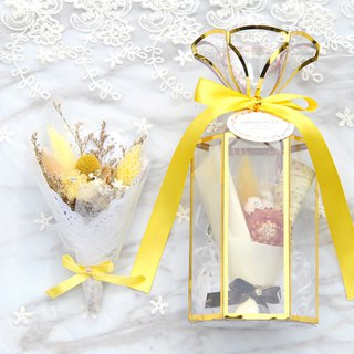 Mini dry bouquet gift box - sunshine orange yellow with card
