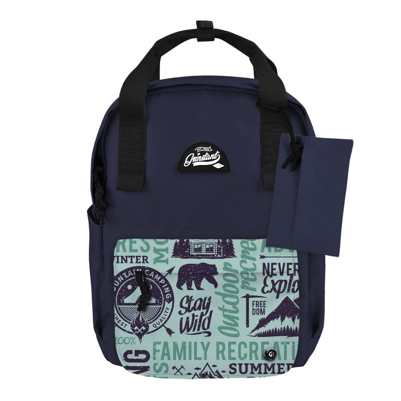 Grinstant mix and match detachable group 13 吋 backpack - Adventure series (dark blue with camp)