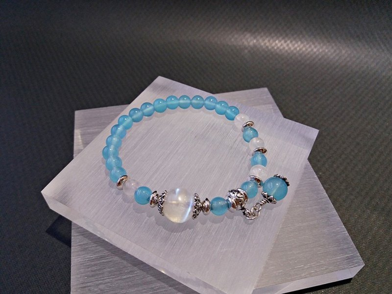 Blue Sky Haitian - Natural Sea Blue Chalcedony + Blue Moonstone Sterling Silver Bracelet