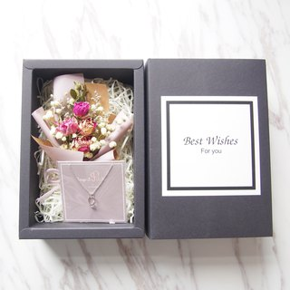 [romantic bouquet gift box] mini dried bouquet (light purple) [I would like ・mini ring necklace]