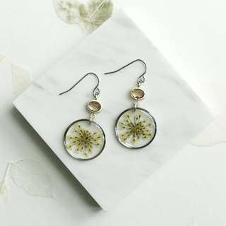 Real flower Queen Anne's Lace silver-plated earrings