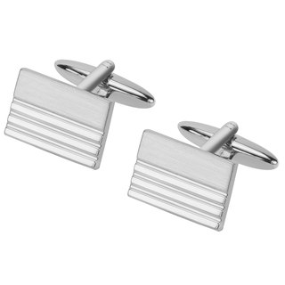 Shiny and Brush Silver Rectangle Cufflinks