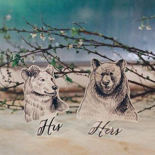 cottontatt his & hers bear temporary tattoo stickers set