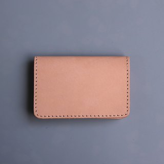 Double open leather business card holder / card holder / vegetable tanned leather primary color